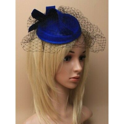 royal blue fascinator hat with netting hatinator, weddings, races, ladies day,