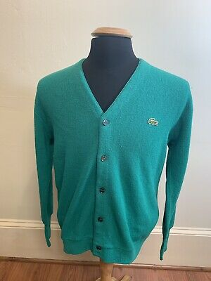 0af234ccd IZOD LACOSTE VINTAGE Cardigan Sweater Green Acrylic Mens Size Large ...