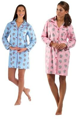 Ladies button front 100% Brushed Cotton long sleeved nightshirt nightdress