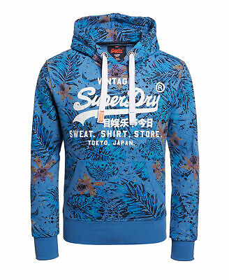 New Mens Superdry Sweat Shirt Store AOP Hoodie Cotton Field Blue