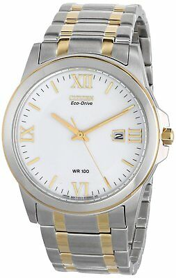 Citizen Eco Drive Men's Silver Dial Two-tone Stainless Steel Watch # BM7264-51A