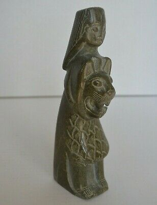 EGYPTIAN ANTIQUE Rare Statue Of Goddess SEKHMET Marble Stone Holding Lion Head