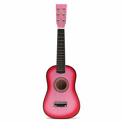 "Pink 23"" Wooden Beginners Mini Acoustic Guitar 6 String Gift Children Music Toy"