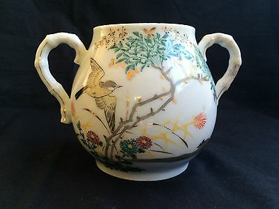 Antique porselein chinese mug birds / blossom with 2 lids. Marked 6 karakters