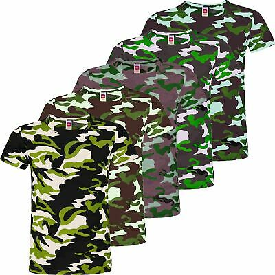 Kids T-Shirt Girls Camo Print Short Sleeve Boys Cotton Blend Military Top 3-14