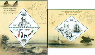 CHARLES DARWIN 160th ANNIVERSARY ORIGIN OF SPECIES SHIP CONGO 2019 MNH STAMP SET