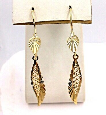 ae137a9106cca LADIES 18K YELLOW Gold Dolphin Dangle Drop Earrings - $169.00 | PicClick