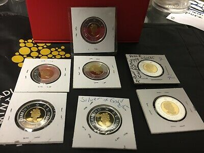 Mixed Lot 7 Canada Toonie Proof Silver W/ 24K Gold Plated Core $2 Dollar Coin