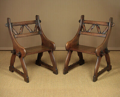 Antique Pair Large 19th.c. Gothic Revival Side Chairs c.1890.