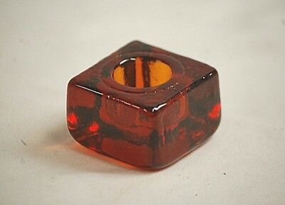 Classic Style Amber or Root Beer in Color Square Candleholder Home Decor