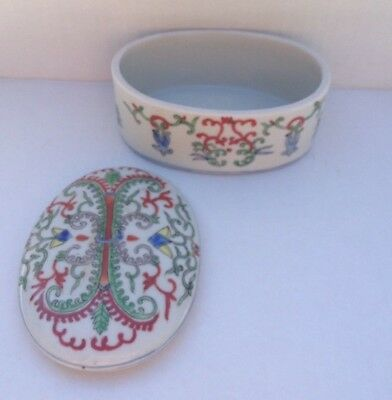 antique chinese porcelain oval box hand painted enameled floral flowers design