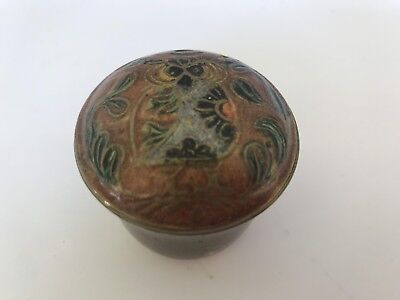 """Vintage Brass small tall Embossed Painted Bowl with Lid made in India jar 1.50 """""""