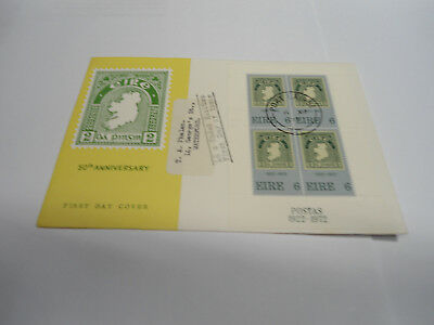 1972 1st stamp miniature sheet on first day cover