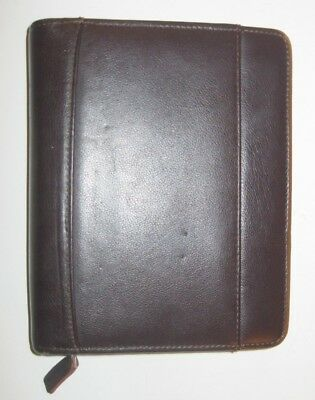 "Compact 1.25"" Rings Brown leather FRANKLIN COVEY/Quest Zippered Planner/Binder"