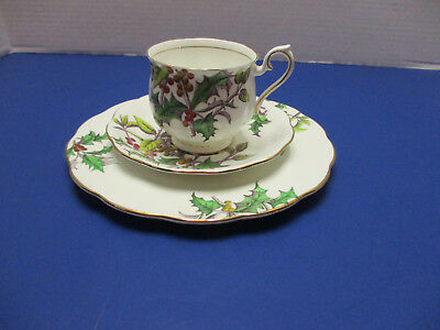 Royal Albert Holly Flower of the Month Trio Cup Saucer Dessert Plate