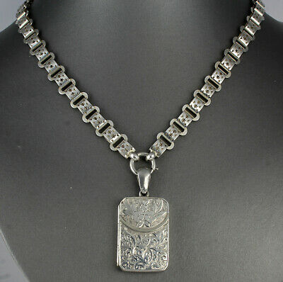 Antique Victorian Sterling Silver Purse Locket On Book Link Chain Necklace