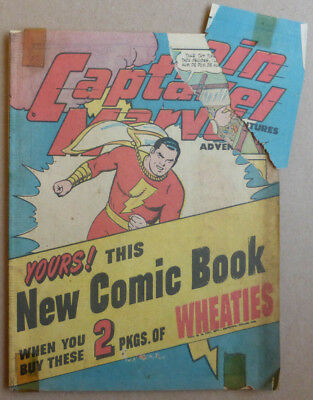 Captain Marvel 'wheaties' Giveaway, Rare Golden Age 1945!!!