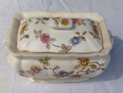 Antique Rectangular Covered Soup Tureen with slot for spoon,