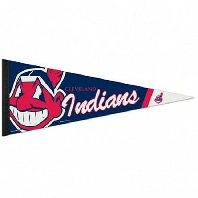 "CLEVELAND INDIANS CHIEF WAHOO MASCOT ROLL UP FELT PREMIUM PENNANT 12""x30"" NEW"