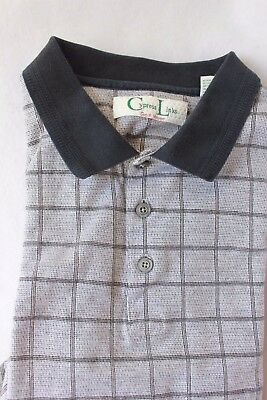 Mens Plus Size Golf Shirt Size XXL 100% Cotton Gray Patterned Polo Cypress Links