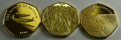 CHURCHILL VE DAY /& D-DAY LANDINGS DAMBUSTERS 3 24ct Gold WW2 Commemoratives