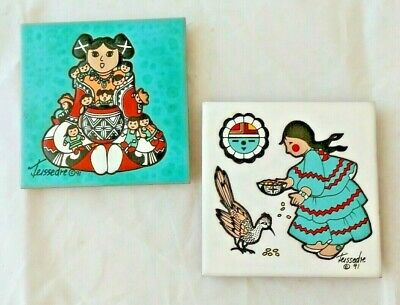 "Cleo Teissedre Set (2) Hand Painted 4"" X 4"" Tiles, Mexican Folk Art Southwestern"