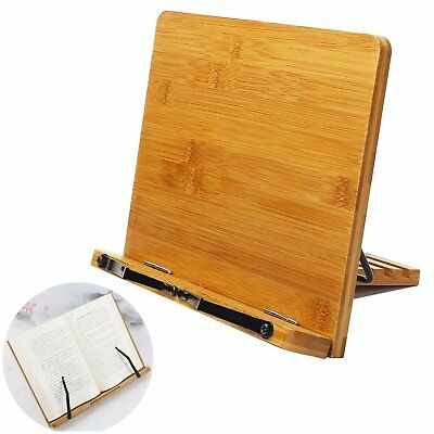 Bamboo Book Holder, Adjustable Book Holder with Tray and Page Paper Clips, Prota