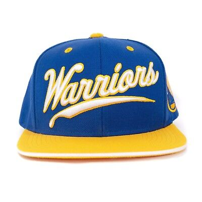 best loved d7ab9 5fa42 Mitchell and Ness Golden State Warriors NBA Snap Back Adjustable Hat Blue  Gold