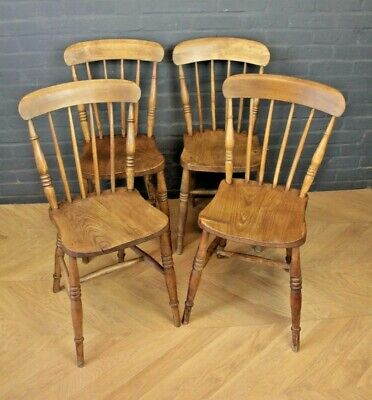 Set 4 Antique Victorian Spindle Back Beech & Elm Farmhouse Kitchen Dining Chairs