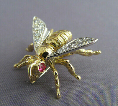 1de196009 Antique ART DECO SPARK 18K YELLOW GOLD Diamond RUBY BEE WASP FLY PIN BROOCH  5g