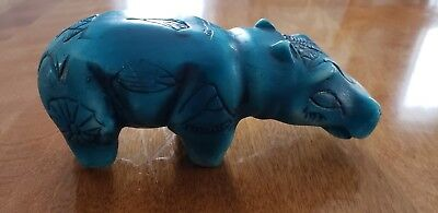 Egyptian Hippo Statue Taweret Carved Faux Stone with Hieroglyphics