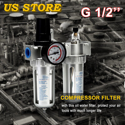 "G1/2"" Air Compressor Filter Water Oil Separator Trap Tool With/ Regulator GaugeM"