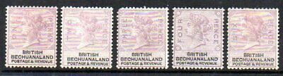 Bechuanaland: 1888 Unappropriated die set to 6d SG 10-14 mint