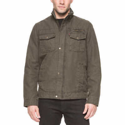 New Men's Levi's Heavy Duty Cargo Jacket Full Zip Knit Collar Olive Large