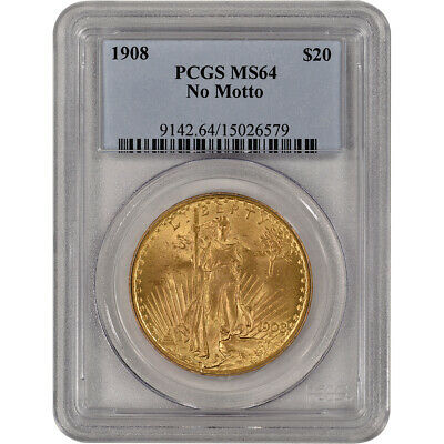 US Gold $20 Saint-Gaudens Double Eagle - PCGS MS64 - 1908 No Motto