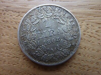 1868 Italy Papal States Silver 1 Lire Coin (ref8c)
