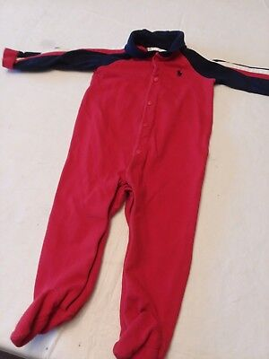 Ralph Lauren baby boy red blue long-sleeve footed outfit 9 month