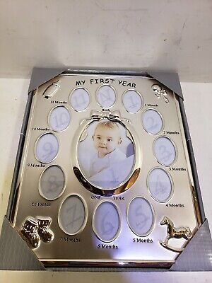 My First Year Baby Photo Frame, Silver Tone 12 Small Windows and 1 Large $44 New