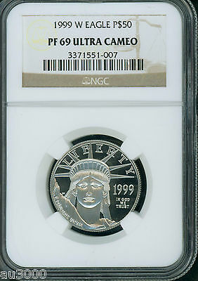 1999-W $50  STATUE LIBERTY PLATINUM 1/2 Oz. NGC PR69 PROOF PF69