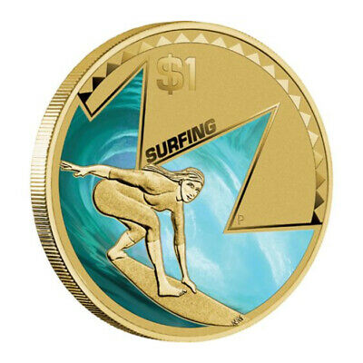 Australia 2013 Experience It - Surfing $1 One Dollar UNC Coin Capsule/Carded PM