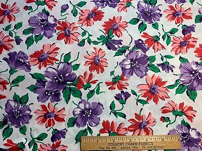 Vintage Cotton Fabric 30s40s PRETTY Pink Purple & Red Floral 35w 1&3/4yds