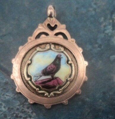 9ct Rose Gold Enamel Pigeon Fob Medal / Pendant 1924 Chester - Prince of  Wales