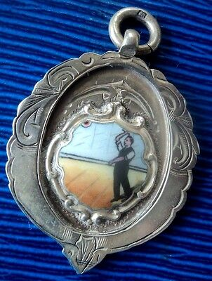 Attractive Sterling Silver & Enamel Darts Fob Medal  1928 Chester - not engraved
