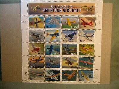 Souvenir Sheet Of American Aircraft 32 Cent Us Stamps 1996 Scott #3142 Mnh, New