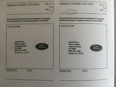 Land Rover Service Book (Stamped) Brand New & Genuine Choose How Many Stamps ***