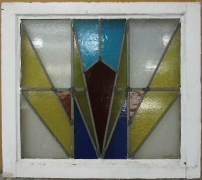 """MID SIZED OLD ENGLISH LEADED STAINED GLASS WINDOW Awesome Geometric 23.5"""" x 21"""""""