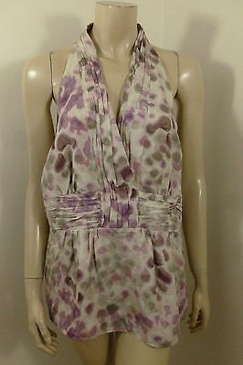 9130284054cd79 Banana Republic 100% SILK Multi-color Sleeveless Blouse Top Woman Size 14 L
