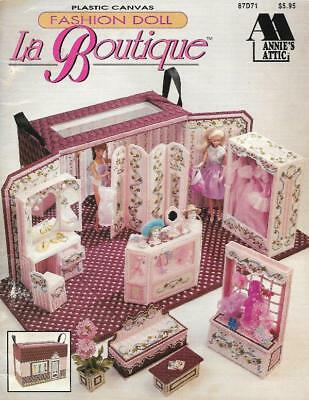 Annie's Attic LA BOUTIQUE 87D71 Barbie Fashion Doll Fold Out Shop w/ Furniture