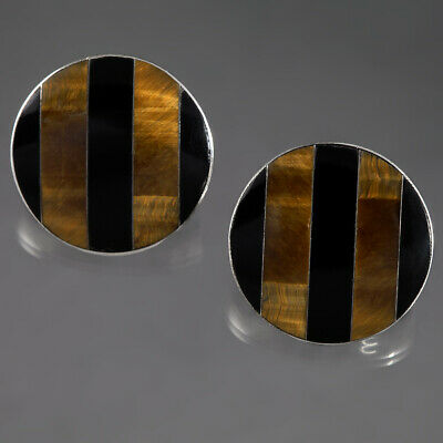 Cii Signed Mexico 925 Sterling Silver Round Earrings Onyx Tigers Eye Vtg Jewelry