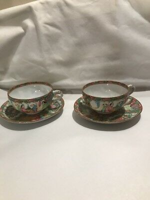 2 Antique Chinese Export Famille Rose Medallion Tea Cup & Saucer China Mark